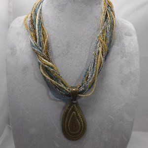 Coldwater Creek Seed Bead and Bronze toned Necklac